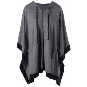 rosegal Hooded Zip Up Plus Size Cape Coat