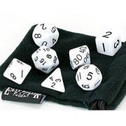 White Opaque (solid) Polyhedral Dice Set | 7 Piece | PRISTINE Edition | FREE Carrying Bag | Hand Checked Quality | Money Back Guarantee