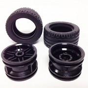 Lego Parts: Tire/Rim Bundle (2) Black 43.2 X 22 Zr Tires (2) Black 30.4mm X 20mm Wheel Rims