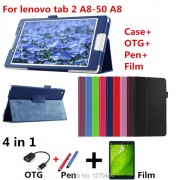 For Tab 3 8 inch TB3-850M leather stand protective skin Tablets & e-Books Case for lenovo tab2 A8-50 A8-50F A8-50LC+film+pen+OTG