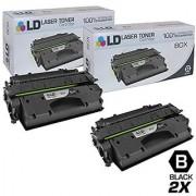 LD Compatible Replacements for Hewlett Packard CF280X (HP 80X) 2PK HY Black Toner Cartridges for Laserjet Pro 400 M401dn 400 M401dne 400 M401dw 400 M401n & 400 M425dn