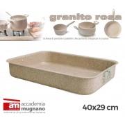 Teglia rettangolare alluminio 40x29 cm effetto pietra Accademia Mugnano Linea GRANITO ROSA
