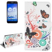 Colorful Butterfly Pattern Leather Case with Holder & Card Slots & Wallet for Huawei Ascend G7