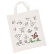 Kreatívan dekorálható pamut táska, pillangós