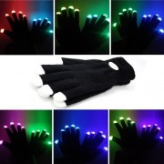 New Arrival Unisex 7-mode 4 Speed Red Blue Green Multicolor Flash Black with White Tip LED Gloves for Lighting Up Rave Party Dancing Club Dance Light Show Gear Supplies