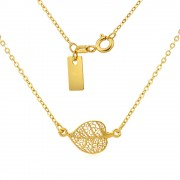 Silvego Stříbrný náhrdelník pozlacený s přívěskem listu - SMJN11XS2