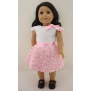 A Cute White and Pink Summer Dress with Rosettes on Skirt Complete with Black Shoes Made to Fit the 18 Inch Doll Like the American Girl Dolls
