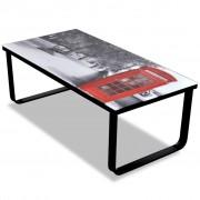 vidaXL Sklenený konferenčný stolík s potlačou telefónnej búdky