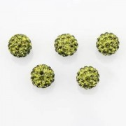 Beautiful Bead 10mm Disco Crystal Studded Ball Beads,Green Rhinestone Craft Inspired Beads (5pcs)