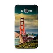 Amez designer printed 3d premium high quality back case cover for Samsung Galaxy J7 (San Francisco Bridge Mountain Landscape)