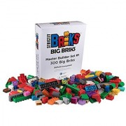 Premium Big Briks 24 Color Enormous Master Builder Set - 300 Pack Bundle (Big LEGO DUPLO Compatible) - Large Pegs