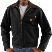 Carhartt Detroit Sandstone Jacket - Blanket Lined Factory Seconds BLACK (06)