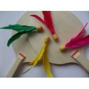 Ping Pang Beachball / badminton mini shuttle in vrolijke kleuren (per 4 stuks verpakt)