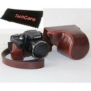 TechCare Ever Ready Protective Camera Leather Case Cover for Canon PowerShot SX500 IS Canon PowerShot SX510 HS Dark B