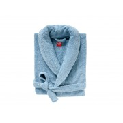 BLANC CERISE Peignoir col châle - coton peigné 450 g/m² bleu glacier