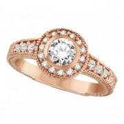 Antique Style Halo Diamond Ring Bezel Set 14K Rose Gold (0.80ct)