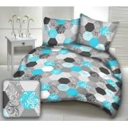 100% pamut 3 részes ágynemű garnitúra huzat extra nagy méret 140x220 - vidám kék virágos