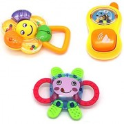 Little Treasures set of 3 Assorted Shaped Grow Up Happily Baby Joyous Rattle Toy with Easy Grip for Ages 0+