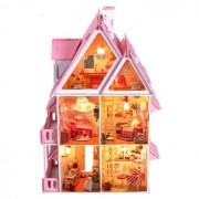 iiE Create DIY Wood Dream House With Light Miniature And Furniture Large Villa