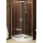 Ravak Blix BLCP4-90 négyrészes negyedköríves zuhanykabin krómozott fém kerettel, transparent edzett biztonságiüveg betéttel