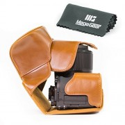"""MegaGear """"Ever Ready"""" Protective Leather Camera Case, Bag for Canon PowerShot G3 X, G3X Digital Camera (Light Brown)"""