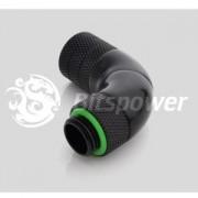 Fiting compresie triplu rotativ 90 grade alama Bitspower G1/4 la 10/8mm, Matte Black