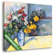 Paul Cézanne: Csendélet, virágok vázában (30x25 cm, Vászonkép )