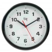Ceas rotund de perete, D-245mm, cifre arabe, TIQ - rama plastic neagra - dial alb