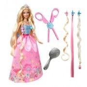T7362 Mattel - Barbie Magic Hair Juego de princesa color rosa muñeca, con tres extensiones de pelo y un par de tijeras