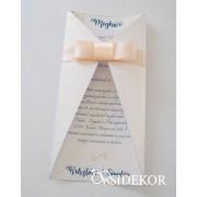 Kinyitható esküvői meghívó szalaggal díszítve