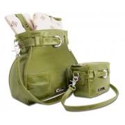 Giorry - Borsa da donna Marilyn in pelle, sfoderabile e lavabile, utilizzabile come borsa da passeggio, include una borsetta e un kit completo per il cambio pannolino, colore: Verde oliva