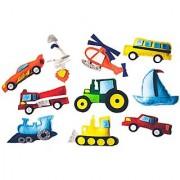 Fridge Magnetic Felt Toy 10 Piece Play Set Transportation Vehicles Tractor Helicopter Imaginative