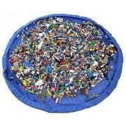 Dealglad portátil (60, grande, color azul Kids Infant Baby Play Mat juguetes bolsa de almacenamiento Organizador bolsa de rápida