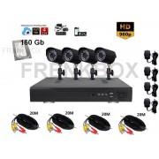 Kit videosorveglianza completo DVR P2P 4 canali 160Gb Telecamere HD 1000TVL