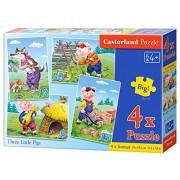Three Little Pigs, 4xPuzzle (8 + 12 + 15 + 20) Te