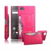 Sony Xperia Z5 Compact (4.6 inch) Funda Protector Rᄄᆰgida con Soporte Ranura (Hot Pink)