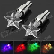 Five-Pointed Star Style LED Colorful Light Vehicle Wheel Valve Flashing Lamp (3 x AG10 / 2 PCS)