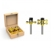 Stalwart Tongue and Groove Router Bit Set with 1/2 Inch Shank & Storage Box (2 Piece Kit) New