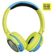 Contixo KB-300 Kid Safe 85DB Over the Ear Wireless Bluetooth LED Headphone with Volume Limiter Built-in Microphone Micro SD FM Stereo Radio Audio Input Green + Blue