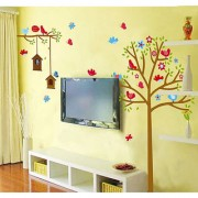 Walltola Pvc Sweet Birds And Nest Trees Wall Decal (47X43 Inch)