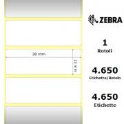 Zebra Z-Ultimate 3000T White - Etichette in poliestere di colore bianco, formato 38 x 13 mm.