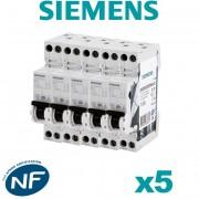 Siemens - Lot de 5 Disjoncteurs électriques phase + neutre 16A