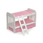 Badger Basket Doll Bunk Bed with Ladder & Storage Baskets (Fits American Girl Dolls), Pink Polka Dot/White