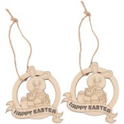 Magideal 10Pcs Laser Cut Happy Easter Rabbit Wooden Tag Embellishment With String