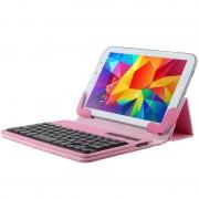 Teclado Bluetooth Universal para Tablet e Capa de Pele - Rosa