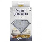 Dekoback Decorazioni commestibili in zucchero a forma di diamante, bianco, 12 pz