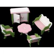 Magideal Dollhouse Miniature Furniture Wooden Toys Kids Living Room Set