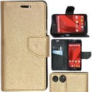 Zaoma Diary Type Flip Cover for PANASONIC P55 NOVO 4G - Gold