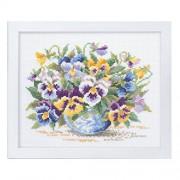 Orimupasu hizo ? kit de punto de cruz bordado del jardin de flores cantidad bordados de flores amigable pensamiento salvaje blanca 7285