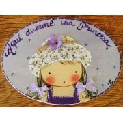 Placa para puerta niña sombrero flores